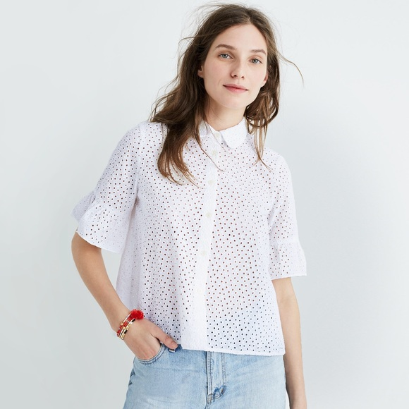 8bd3b6d8e Madewell Tops | Cropped Eyelet Button Down | Poshmark